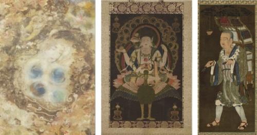 左:「白梅ニ椿菊図」、中:国宝「孔雀明王像」、右:「玄奘三蔵像」 (中・右:東京国立博物館蔵)