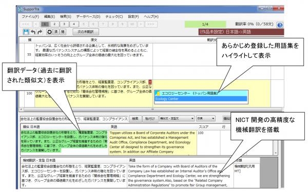 SupporTraの「翻訳エディタ」画面